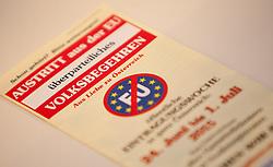 THEMENBILD - Volksbegehren EU-Austritt. Von 24. Juni bis 1. Juli findet in ganz Österreich ein Volksbegehren statt. Im Bild der Flyer eines überparteilichen Komitees mit der Forderung zum Austritt aus der Europäischen Union. EXPA Pictures © 2015, PhotoCredit: EXPA/ Jakob Gruber