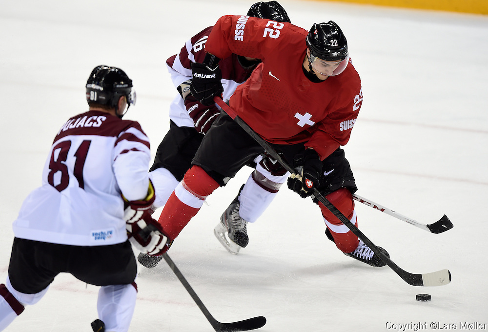 DK Caption: <br /> 20140212, Sochi, Rusland:  Vinter Olympiske Lege/Vinter OL i Sochi 2014: Isheckey herrer, Letland - Schweiz: Nino Niederreiter, Schweiz, Switzerland<br /> Foto: Lars M&oslash;ller<br /> UK Caption: <br /> 20140212, Sochi, Russia:  Sochi 2014 Winter Olympic Games: Icehockey Men, Latvia - Switzerland: Nino Niederreiter, Schweiz, Switzerland<br /> Photo: Lars Moeller