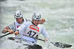 30.06.2013, Eiskanal, Augsburg, GER, ICF Kanuslalom Weltcup, Finale Kanu-Zweier Teams, Maenner. im Bild Ondrej KARLOVSKY (vorne) und Jakub JANE (hinten) aus der Tschechischen Republik, Finale, Team, Kanu, Canoe, C2, Teams, Herren, Tschechien, Tschechische Republik // during the final of canoe double of the men kayak team of ICF Canoe Slalom World Cup at the ice track, Augsburg, Germany on 2013/06/30. EXPA Pictures © 2013, PhotoCredit: EXPA/ Eibner/ Matthias Merz<br /> <br /> ***** ATTENTION - OUT OF GER *****