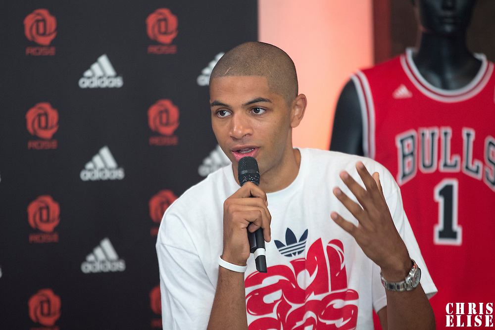 12 July 2013: Portland Trail Blazers Nicolas Batum answers journalists during Adidas' D Rose tour,  in Paris, France.