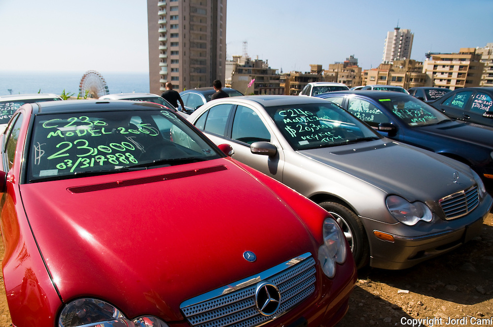 BEIRUT,LEBANON - JUNE 2009 :  Import used cars for sale. Manara district .<br />