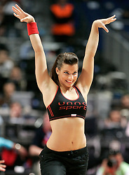 Silvia the new girlfriend of Pau Gasol perform as Cheerleader during Euroleague Final Four third place match, May 04, 2008.