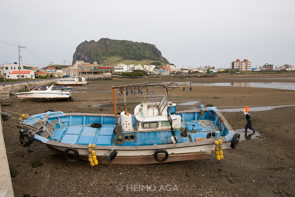 Jeju Island. Seongsan Ilchulbong (Sunrise Peak), starnded fish trawlers during low tide.