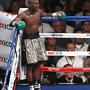 LAS VEGAS, NV - SEPTEMBER 13: Floyd Mayweather Jr. waits in a neutral corner after throwing a low-blow during his WBC/WBA welterweight title fight against Marcos Maidana at the MGM Grand Garden Arena on September 13, 2014 in Las Vegas, Nevada. (Photo by Alex Menendez/Getty Images) *** Local Caption *** Floyd Mayweather Jr; Marcos Maidana