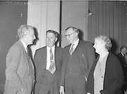 "Gael Linn.Seán Ó Riada's ""Spailpin a Ruin"" premieres at Damer Theatre, Stephen's Green as part of the International Theatre Festival.  The author chats with Caomhin O'Beolainn T.D., Minister for Defence; Mr. D. O'Briain, Parlimentary Secretary to An Taoiseach, and Maire Breathnach, Gael-Linn Trustee..15.09.1960"