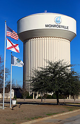05 February 2015. Monroeville, Alabama.<br /> On the trail of Harper Lee's 'To Kill a Mocking Bird.'<br /> A water tower in the town.<br /> Photo; Charlie Varley/varleypix.com