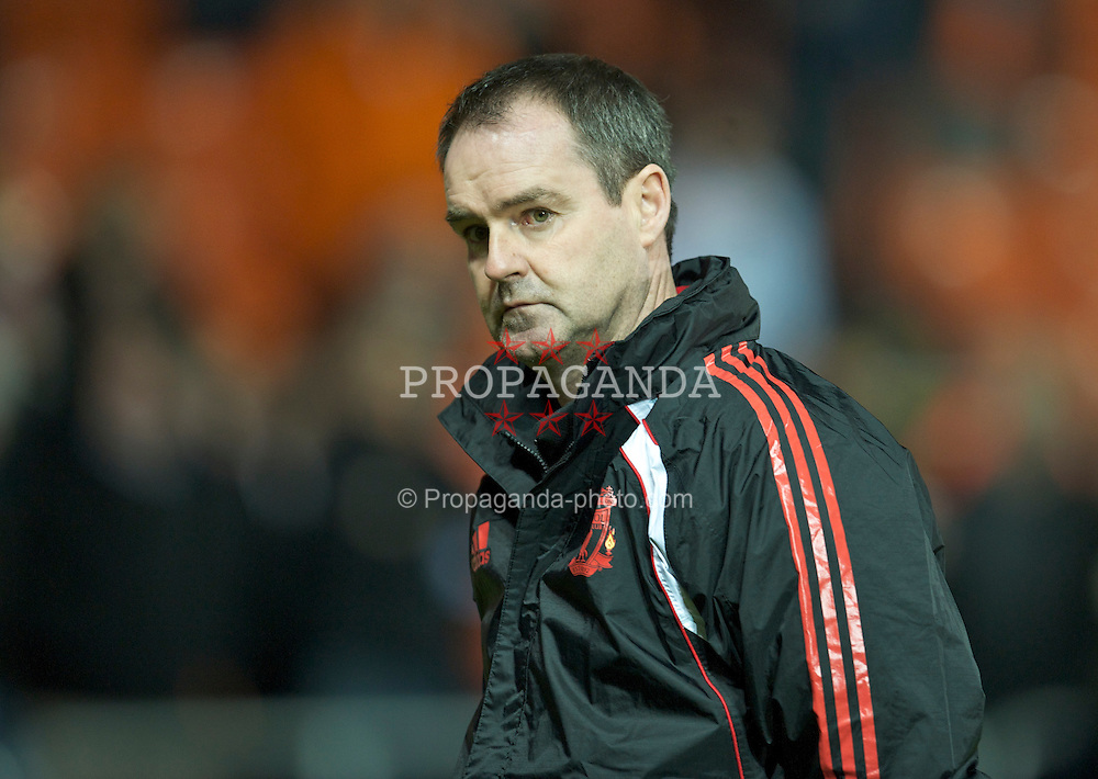 BLACKPOOL, ENGLAND - Wednesday, January 12, 2011: Liverpool's assistant manager Steve Clarke before the Premiership match against Blackpool at Bloomfield Road. (Photo by David Rawcliffe/Propaganda)