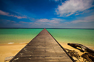 Long Ocean Pier and Beach on Deserted Island, Indonesia Kalimantan Sangalaki Island