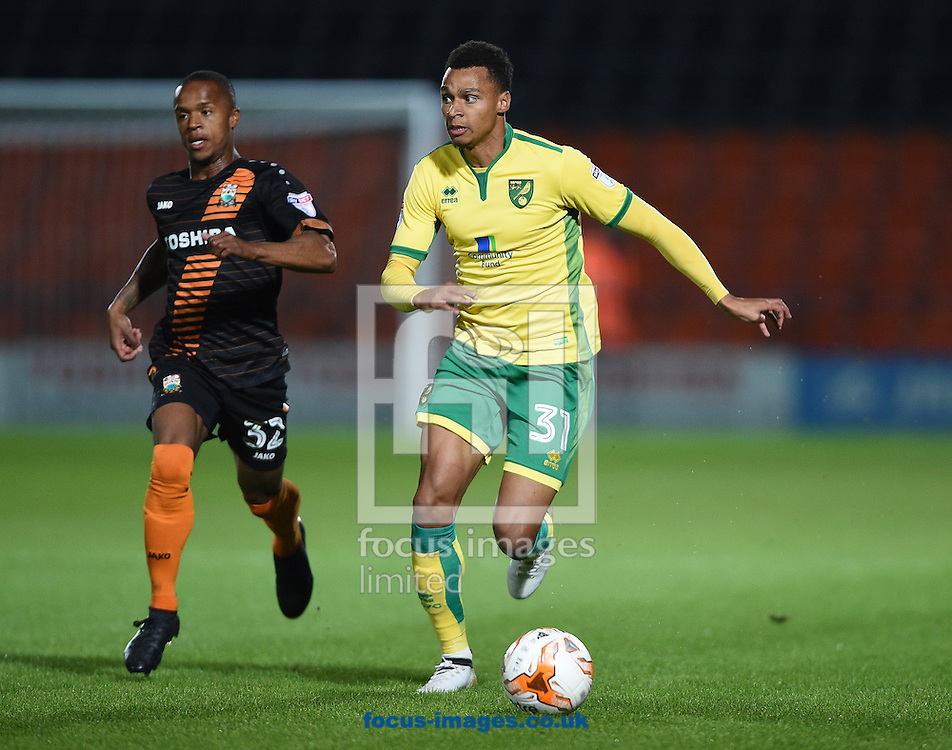 Mauro Vilhete of Barnet and Josh Murphy of Norwich City U23 during the Checkatrade Trophy match at Underhill Stadium, London<br /> Picture by Daniel Hambury/Focus Images Ltd +44 7813 022858<br /> 04/10/2016
