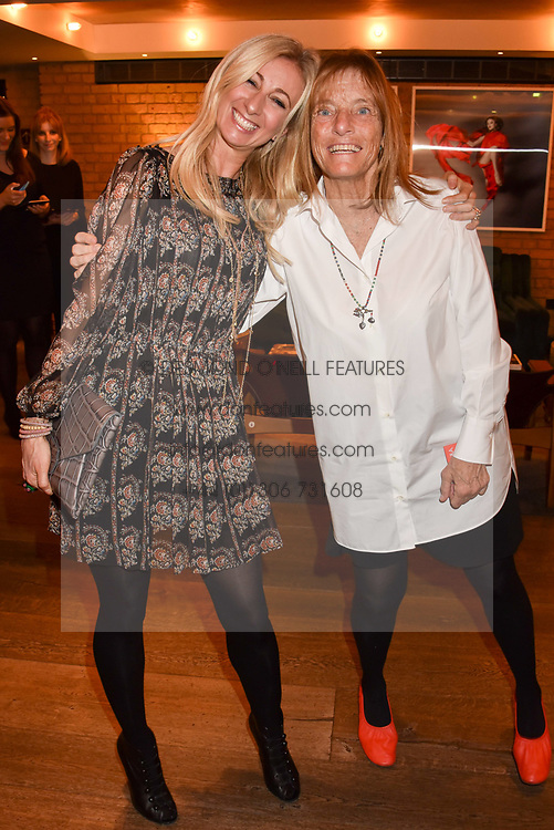 Left to right, Jenny Halpern-Prince and Lady Rogers at a party to celebrate the publication of Place by Tara Bernerd held at il Pampero at The Hari, 20 Chesham Place, London, England. 8 March 2017.