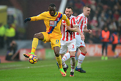 Christian Benteke of Crystal Palace shields the ball from Phillip Bardsley of Stoke City - Mandatory by-line: Alex James/JMP - 11/02/2017 - FOOTBALL - Bet365 Stadium - Stoke-on-Trent, England - Stoke City v Crystal Palace - Premier League