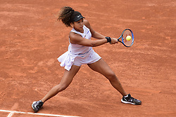 May 28, 2019, Paris, France: NAOMI OSAKA in action during the women's singles first round match of the French Open tennis tournament against A. Karolina Schmiedlova of Slovakia at the Roland Garros. Osaka won 0-6 7-6(4) 6-1. (Credit Image: © Panoramic via ZUMA Press)
