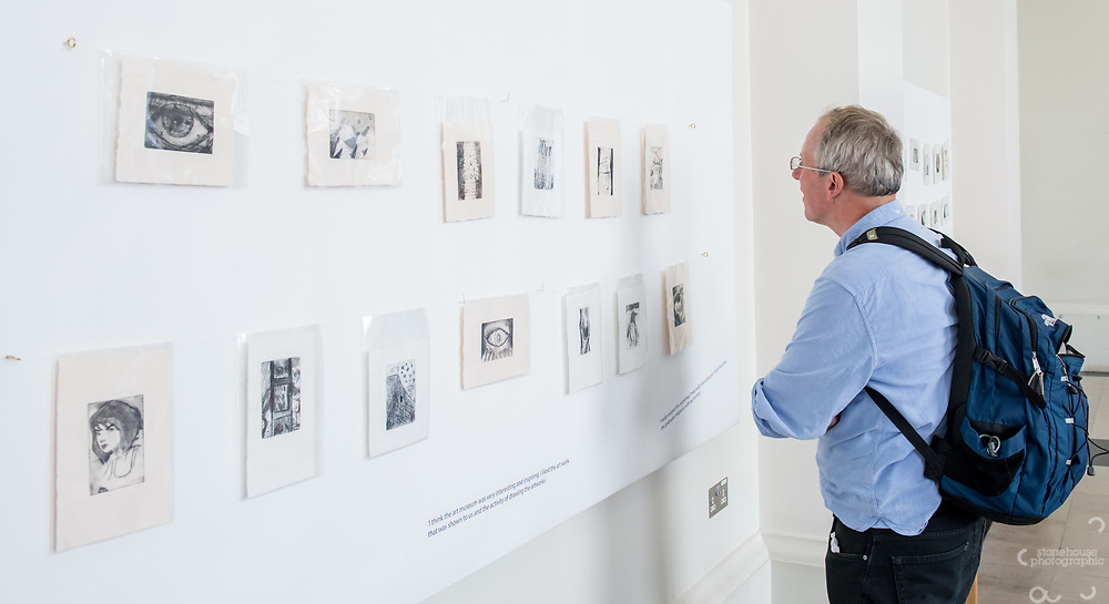 Make An Impression exhibition launch of 90 small scale black and white dry point etchings by young people from six colleges and schools across East London with support from UCL staff and Slade School of Fine Art students.<br /> UCL North Cloister, 22, Gower St, London. 30/04/2019