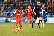 Jay Simpson during the Sky Bet League 1 match between Gillingham and Leyton Orient at the MEMS Priestfield Stadium, Gillingham, England on 15 November 2014.