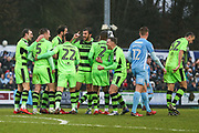 Forest Green Rovers Lee Collins(5) scores a goal 2-1 and celebrates during the EFL Sky Bet League 2 match between Forest Green Rovers and Coventry City at the New Lawn, Forest Green, United Kingdom on 3 February 2018. Picture by Shane Healey.