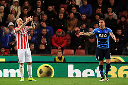 Marko Arnautovic of Stoke City and Kyle Walker of Tottenham Hotspur react in frustration - Mandatory by-line: Matt McNulty/JMP - 18/04/2016 - FOOTBALL - Britannia Stadium - Stoke, England - Stoke City v Tottenham Hotspur - Barclays Premier League