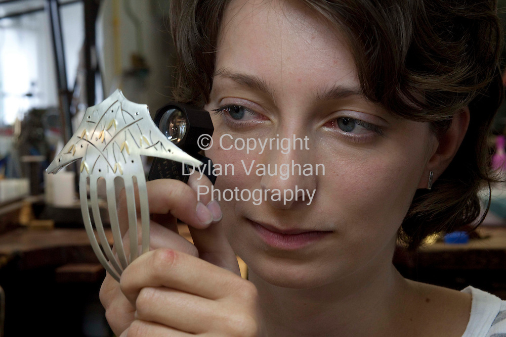 10/7//2009.The graduates of the Craft Council of Ireland's acclaimed Goldsmithing & Jewellery Design & Skills course - established in 1993 and considered one of the best in Europe - will showcase their work at the Graduate Jewellery Exhibition which opens at the National Craft Gallery in Kilkenny next Friday (17th July) until 2nd August.  The two-year course, which is run and fully funded by the Crafts Council of Ireland, is the only course available in Ireland which focuses primarily on the traditional techniques of jewellery and goldsmithing and has a 90% employment rate for graduates.  The exhibition of their work at the National Craft Gallery of Ireland in Kilkenny from next Friday will feature a range of pieces from quality production jewellery to high-end one-off exquisite pieces in silver, 18ct gold and precious gemstones, allowing visitors to buy a unique piece from an emerging designer or simply admire incredible craftsmanship up close.  .Pictured is Veronica Roden with a hair piece..Picture Dylan Vaughan