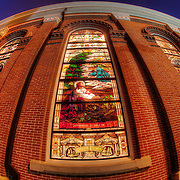 The side of the Cathedral of the Immaculate Conception at 12th and Broadway in the Quality Hill neighborhood of downtown Kansas City MO.