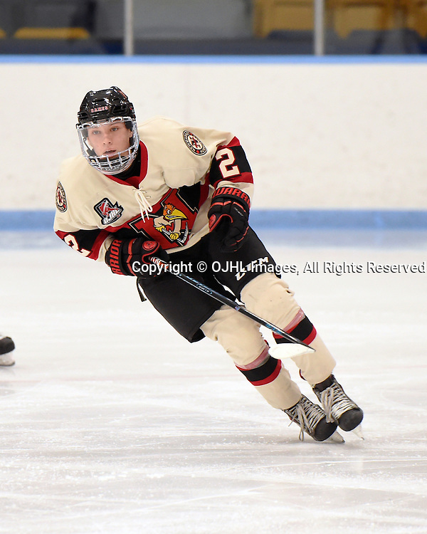 MARKHAM, ON - OCT 28,  2016: Ontario Junior Hockey League game between Newmarket and Markham, Cole Howran #2 of the Newmarket Hurricanes skates up the ice during the third period.<br /> (Photo by Andy Corneau / OJHL Images)