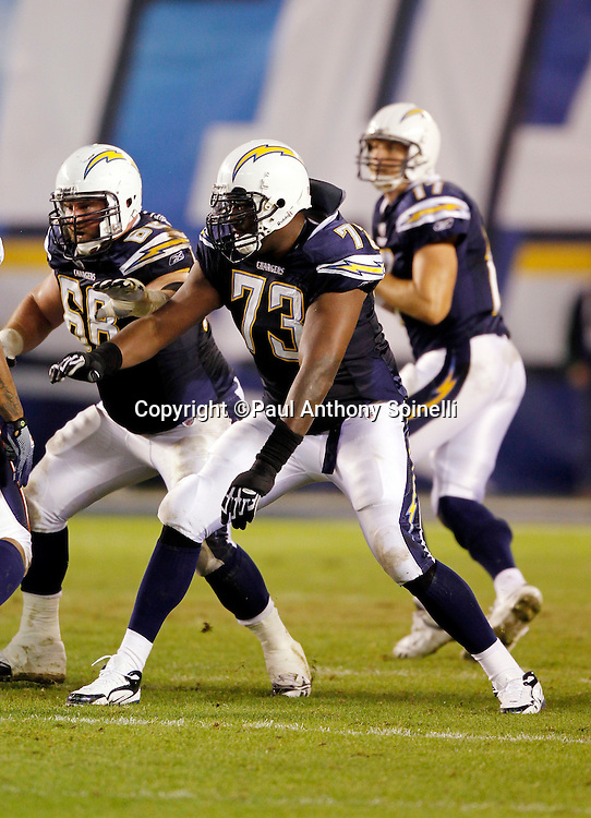 San Diego Chargers offensive tackle Marcus McNeill (73) blocks during the NFL week 11 football game against the Denver Broncos on Monday, November 22, 2010 in San Diego, California. The Chargers won the game 35-14. (©Paul Anthony Spinelli)
