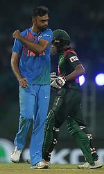 March 8, 2018 - Colombo, Sri Lanka - Indian cricketer Vijay Shankar celebrates after taking a wicket during the 2nd T20 cricket match of NIDAHAS Trophy between India  and Bangladesh at R Premadasa cricket ground, Colombo, Sri Lanka on Thursday 8 March 2018. (Credit Image: © Tharaka Basnayaka/NurPhoto via ZUMA Press)