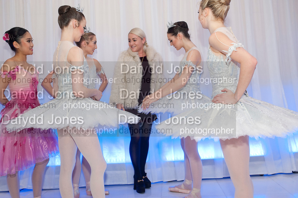 JAIME WINSTONE WITH DANCERS FROM THE ENGLISH NATIONAL BALLET, English National Ballet's party before performance of the ' The Nutcracker. St. Martin's Lane Hotel. London 14 December 2011.
