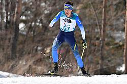 ROMANIUK Serhii UKR LW8 competing in the ParaBiathlon, Para Biathlon at  the PyeongChang2018 Winter Paralympic Games, South Korea.