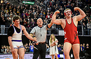 Chamberlain's Nash Hutmacher celebrates after defeating Beresford/Alcester-Hudson's Nick Casperson for the Class A 285 pound state championship during the state wrestling tournament on Saturday at the Denny Sanford Premier Center in Sioux Falls. (Matt Gade / Republic)