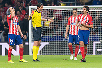 Referee shows red card to Atletico de Madrid Stefan Savic during UEFA Champions League match between FK Qarabag and Atletico de Madrid at Wanda Metropolitano in Madrid, Spain. October 31, 2017. (ALTERPHOTOS/Borja B.Hojas)