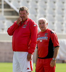 Nicosia, Cyprus - Friday, October 12, 2007: Wales' manager John Toshack and assistant Roy Evans training at the new GPS Stadium ahead of their UEFA Euro 2008 Qualifying match against Cyprus in Nicosia. (Photo by David Rawcliffe/Propaganda)