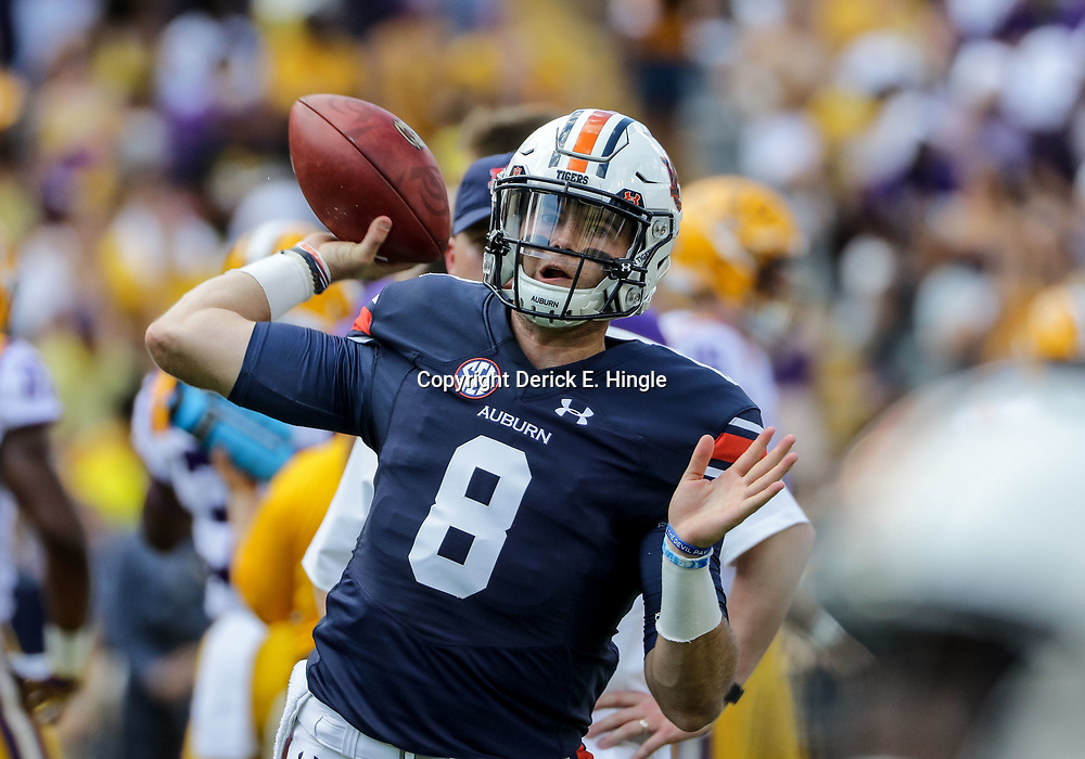 Oct 14, 2017; Baton Rouge, LA, USA; Auburn Tigers quarterback Jarrett Stidham (8) before a game against the LSU Tigers at Tiger Stadium. Mandatory Credit: Derick E. Hingle-USA TODAY Sports