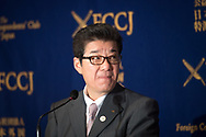 """Gov. Matsui, who is also leader of the political party Nippon Ishin no Kai listen to journalists questions during a press conference at The Foreign Correspondent Club Of Japan ( FCCJ ) on 14th of April. He is at the forefront of the 2025 Expo push. The central government is reportedly moving ahead with plans to nominate Osaka later this spring to host the 2025 World Expo. With Paris also bidding for the Expo, there are also worries about the competition. Under the theme of """"Designing Future Society for Our Lives,"""" the Osaka Expo would feature artificial intelligence, virtual reality, and other leading-edge technologies. Backers say it would provide an additional economic lift after the 2020 Tokyo Olympics. 14/04/2017-Tokyo, JAPAN"""