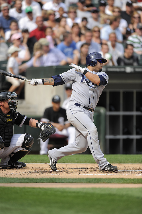CHICAGO - AUGUST 23:  Dioner Navarro #30 of the Tampa Bay Rays bats during the game against the Chicago White Sox at U.S. Cellular Field in Chicago, Illinois on August 23, 2008.  The Rays defeated the White Sox 5-3.  (Photo by Ron Vesely)