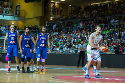 Zoran Dragic of Slovenia & Marco Belinelli, Marco Cusin and Luigi Datome of Italy during friendly basketball match between National teams of Slovenia and Italy at day 3 of Adecco Cup 2015, on August 23 in Koper, Slovenia. Photo by Grega Valancic / Sportida