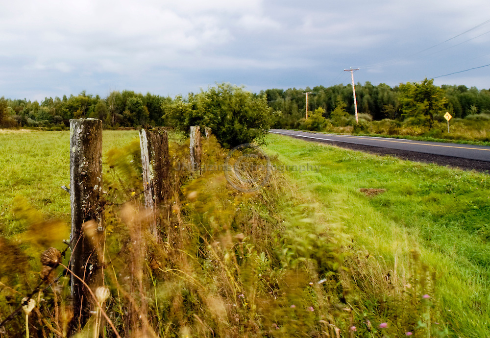 An old barbed fence separates an open-field from a paved country road in Gatineau, Quebec.