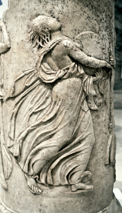 Relief of a dancing maenad on the base of a pillar in the Seville Archaeological Museum.