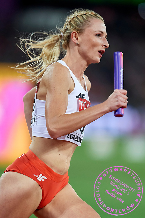 Great Britain, London - 2017 August 13: Malgorzata Holub (Baltyk Koszalin) of Poland competes in women's 4x400 meters relay final during IAAF World Championships London 2017 Day 10 at London Stadium on August 13, 2017 in London, Great Britain.<br /> <br /> Mandatory credit:<br /> Photo by © Adam Nurkiewicz<br /> <br /> Adam Nurkiewicz declares that he has no rights to the image of people at the photographs of his authorship.<br /> <br /> Picture also available in RAW (NEF) or TIFF format on special request.<br /> <br /> Any editorial, commercial or promotional use requires written permission from the author of image.