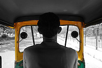 A motor rickshaw driver in Delhi, India