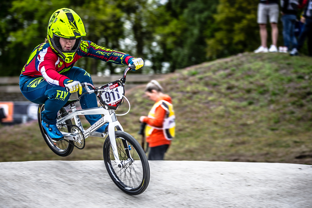 #911 (SHRIEVER Bethany) GBR during practice at Round 3 of the 2019 UCI BMX Supercross World Cup in Papendal, The Netherlands