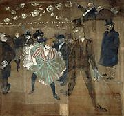 Dance at the Moulin Rouge: La Goulue and Valentin. Oil on canvas, 1895, by Henri de Toulouse-Lautrec (1864-1901) French artist. Post-Impressionist, Art Nouveau.
