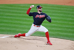October 11, 2017 - Cleveland, OH, USA - Cleveland Indians starting pitcher Corey Kluber delivers against the New York Yankees in the first inning during Game 5 of the American League Division Series, Wenesday, Oct. 11, 2017, at Progressive Field in Cleveland. (Credit Image: © Leah Klafczynski/TNS via ZUMA Wire)