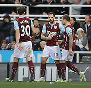 Danny Ings (c) of Burnley celebrates their second during the Barclays Premier League match at St. James's Park, Newcastle<br /> Picture by Simon Moore/Focus Images Ltd 07807 671782<br /> 01/01/2015