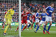 Movement in the box from Middlesbrough forward Jordan Rhodes (9)  during the Sky Bet Championship match between Middlesbrough and Ipswich Town at the Riverside Stadium, Middlesbrough, England on 23 April 2016. Photo by Simon Davies.