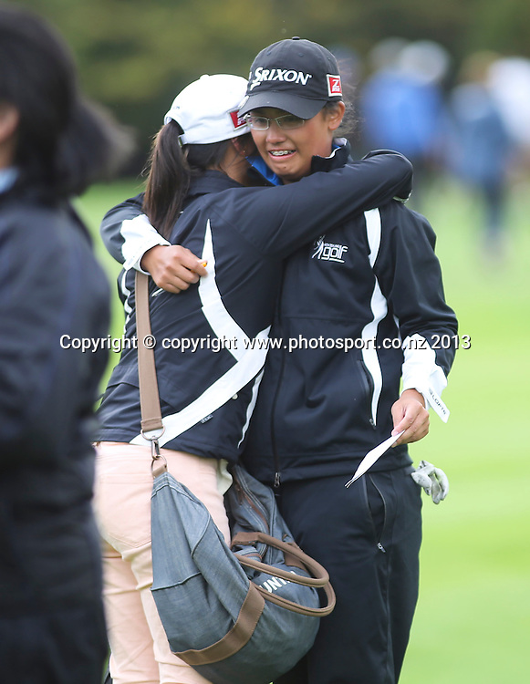 Julianne Alvarez sheds a few tears after winning the final of the 2013 New Zealand Amateur Championship, Manawatu Golf Club, Palmerston North, New Zealand. Sunday 26 April 2013. Photo: John Cowpland / photosport.co.nz