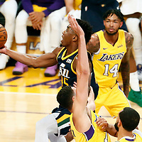 10 October 2017: Utah Jazz guard Donovan Mitchell (45) goes for the layup during the Utah Jazz 105-99 victory over the LA Lakers, at the Staples Center, Los Angeles, California, USA.