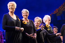 "© Licensed to London News Pictures . 12/01/2016 . Salford , UK . Pictured: the original Women's Institute members who made the calendar . Gary Barlow makes a surprise appearance and performs in front of the audience at the Lowry Theatre ,  during the opening week of "" The Girls "" , a musical he wrote based on the story "" Calendar Girls "" , about a group of Women's Institute members in Yorkshire , who made a nude calendar . Photo credit : Joel Goodman/LNP"