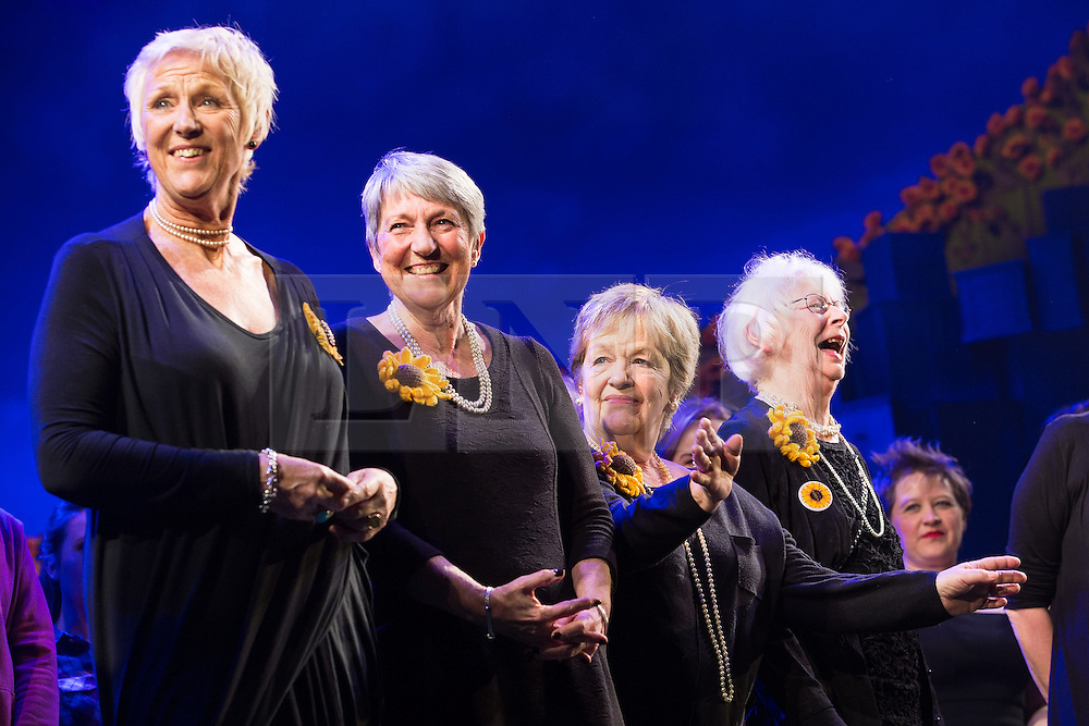 """© Licensed to London News Pictures . 12/01/2016 . Salford , UK . Pictured: the original Women's Institute members who made the calendar . Gary Barlow makes a surprise appearance and performs in front of the audience at the Lowry Theatre ,  during the opening week of """" The Girls """" , a musical he wrote based on the story """" Calendar Girls """" , about a group of Women's Institute members in Yorkshire , who made a nude calendar . Photo credit : Joel Goodman/LNP"""