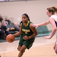 2nd year guard Kyia Giles (6) of the Regina Cougars in action during the Women's Basketball Playoff Game on February  16 at Centre for Kinesiology, Health and Sport. Credit: Arthur Ward/Arthur Images