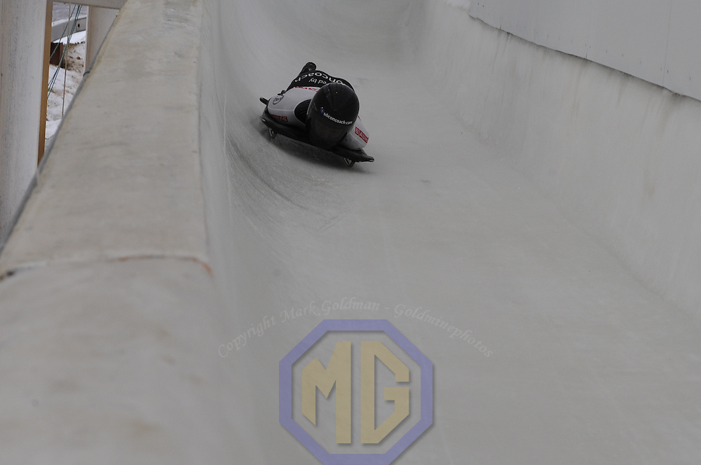 27 February 2007:  Tionette Stoddard of New Zealand in the 4th run at the Women's Skeleton World Championships competition on February 27 at the Olympic Sports Complex in Lake Placid, NY. The World Championship was won by Marion Trott of Germany.