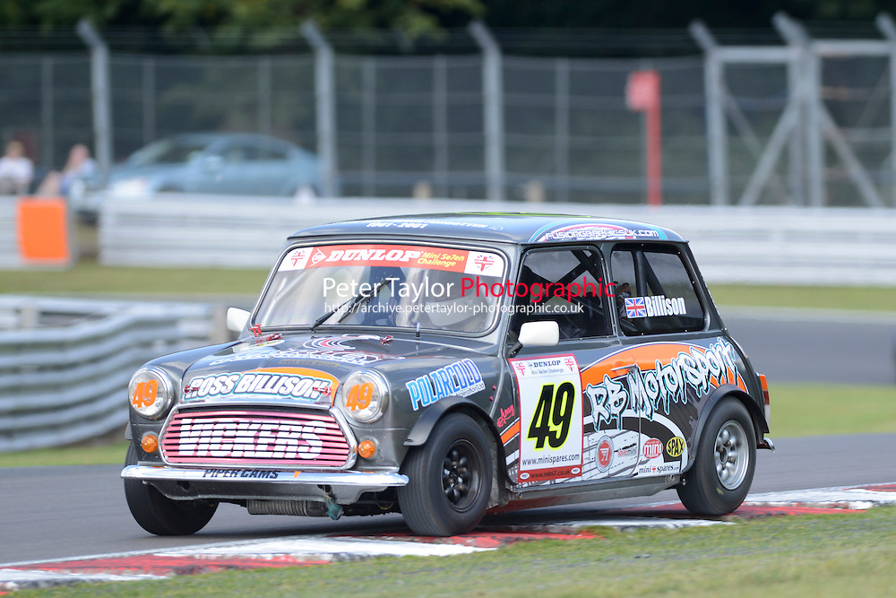 #49 Ross Billison Mini 7 during Mini Se7en - Race 1  as part of the Mini Festival  at Oulton Park, Little Budworth, Cheshire, United Kingdom. August 08 2015. World Copyright Taylor/PSP. Copy of publication required for printed pictures.  Every used picture is fee-liable. http://archive.petertaylor-photographic.co.uk